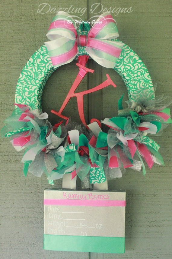 Baby girl wreath hospital nursery door by wjdazzlingdesigns for Baby girl hospital door decoration
