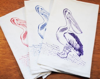 Set of 3 Tea Towels - Screen Printed 100% Cotton - Red Blue Purple - Pelican Kitchen Tea Towels - Kitchen Dish Towels  - Wedding Gifts