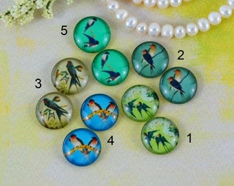 12mm,16mm,20mm Mix Swallow bird Handmade photo glass cabochon cabs 12B085