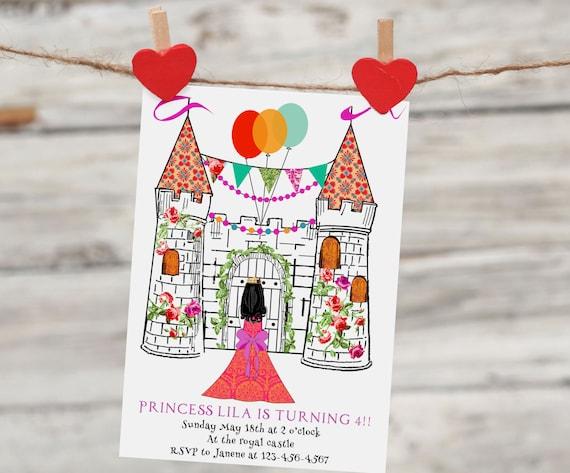 Digital Castle Birthday Invitation. Girl's Princess Castle Party
