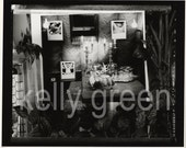 Dining Room Scene with Deer Head and Nude Imagery Black and White Photograph Diorama