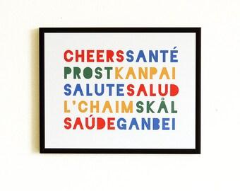 """Cheers Print, Kitchen Art - 8"""" x 10"""" - 12 Different World Languages"""