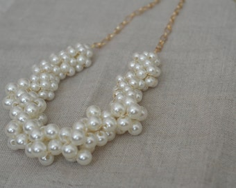 Chunky Pearl Necklace with Gold Chain