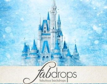 Winter Princess Castle Backdrop Birthday Party Birthday Photo Booth Princess Party Backdrop Frozen Inspired - (FD5016)