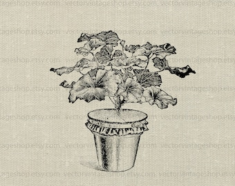Potted plant vector graphic instant download, botany lab plant experiment clipart, vintage style illustration 01007