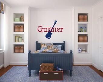 Guitar Wall Decal Guitar Vinyl Decal Boy Name Wall Decal Boy Bedroom Wall Decal Nursery Decal Music Decal Girl Bedroom Decal