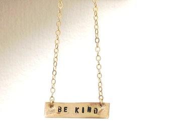 Be Kind Necklace, Be Kind Affirmation Necklace, Gold Bar, Mantra Necklace
