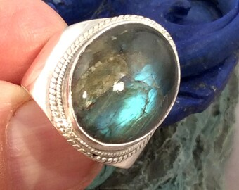 Size 9.5 Sterling Silver Ring,  Labradorite, free US ship