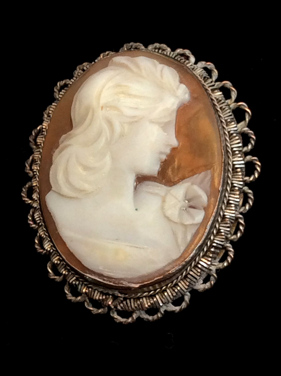 antique cameo brooch pin or pendant sterling silver wire