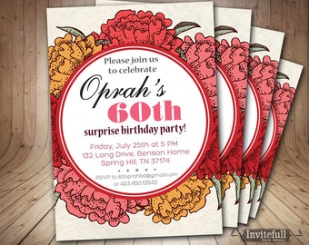 60th Birthday Invitation for women, Adult Birthday Invitation,DIY Printable Invitation,Woman Birthday Invitation,Floral Birthday Invitation