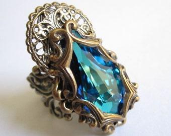 Claudia - Swarovski ring - Filigree ring - Fantasy jewelry - Bridal Jewelry - Art nouveau jewelry - GOT Jewelry - Bridal Ring - Sci Fi Ring
