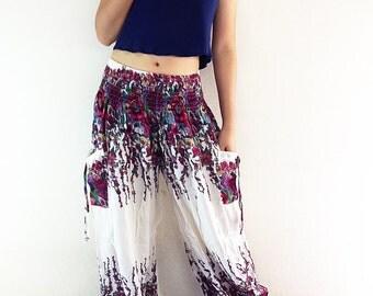 Women Trouser Pants Yoga Pants Aladdin Pants Maxi Pants Boho Pants Gypsy Pants Rayon Pants Genie Pant Hippy Pants Trouser Cream (TS64)