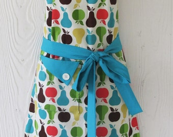 Apple & Pear Apron , Womens Full Apron , Apples , Pears , Retro Apron, Vintage Style, Turquoise , Cute Aprons , KitschNStyle