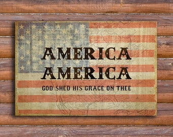 "AMERICA God Shed His Grace, American Flag, Fourth of July, Patriotic Art, Poster and/or Framed or Rolled Canvas (20 x 30) or (27"" x 40"")"