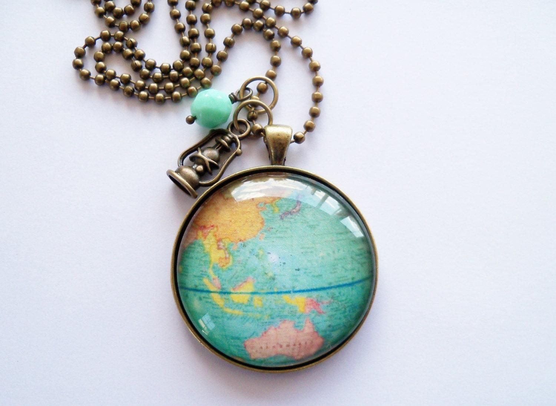 large globe necklace map pendant necklace world map