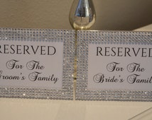 Bling Collection * Rhinestone Wedding 5x7 Frame with Reserved, Reserved for the Bride's Family, Reserved for the Groom's Family