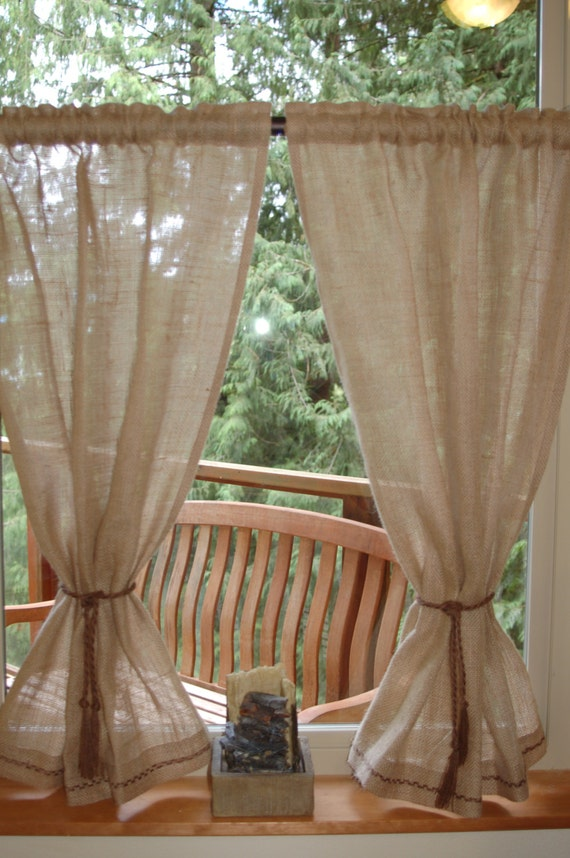 Rustic, chic Burlap cafe curtain panels in natural burlap with hand ...