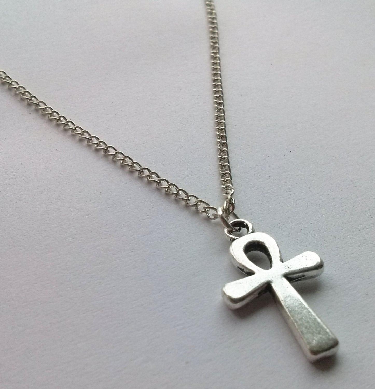 silver ankh necklace crux necklace necklace