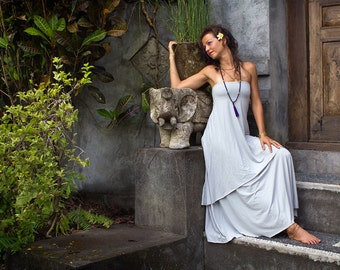 Silver Grey Prana Dress - Flowy goddess sundress, multi functional, tube top, strapless dress. ecoluxe wear