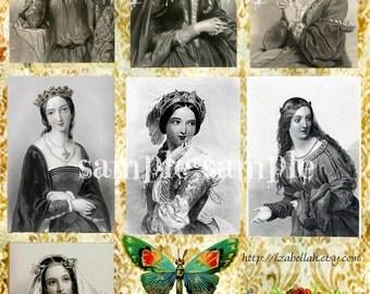 SALE Instant DIGITAL download - COLLAGE sheet - Vintage Victorian French Ladies illustration engravings- Paper Journaling Art Supplies