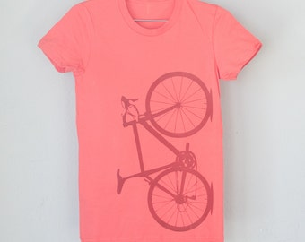 OOPS! SALE - Small Women's Coral Bicycle Tshirt 038
