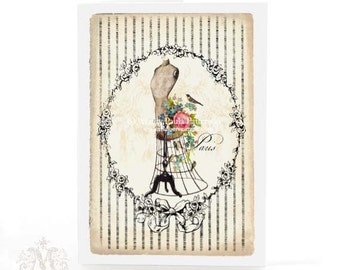 Mannequin, card, French, vintage style, pink roses, birds nest, Paris, dress form, bird, forgetmenots, blue eggs, stripes