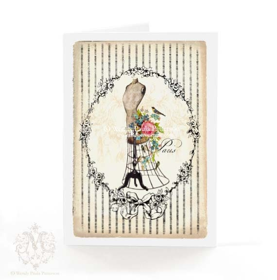 mannequin card french vintage style pink roses birds