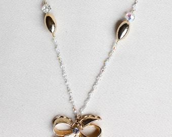 Vintage Upcycled Necklace / Bow Rhinestone Pendant / Gold Charm Necklace
