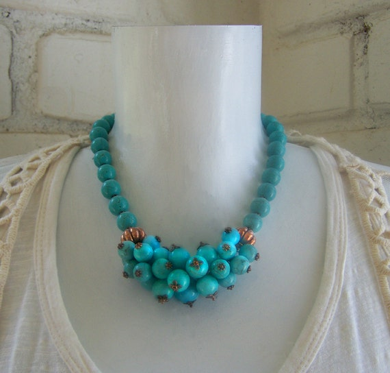 Turquoise beaded gemstone cluster copper necklace, turquoise jewellery, gemstone statement necklace, chunky big bold necklaces,  big jewerly