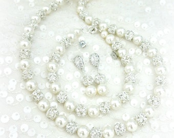 Pearl Bridal Jewelry Set // Full Jewelry Set // Necklace // Bracelet // Earrings // Wedding Day Jewelry, Pearl Bridal Necklace