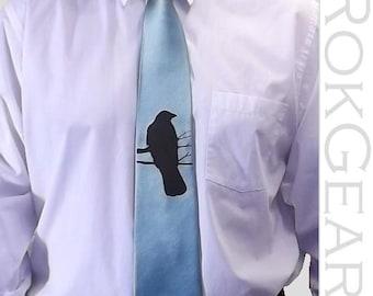 Mens necktie - Crow tie - Raven necktie custom colors available