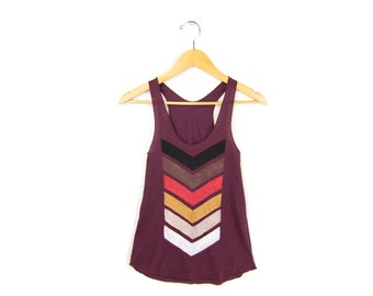 Geo Chevron Tank - Racerback Scoop Neck Swing Tank Top in Heather Cranberry and Fire - Women's Size XS-L