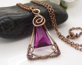 Solid copper jewelry, hot pink quartz necklace pendant, wire wrapped copper necklace, triangle spiral chunky large bright pink necklace