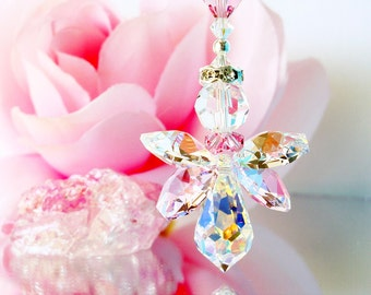 Crystal Angel Suncatcher Rear View Mirror Charm Violet Purple