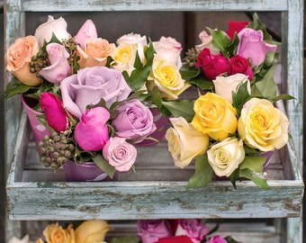 Paris Photograph - Roses in Paris Flower Shop, Romantic French Home Decor, Large Wall Art