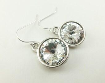 Bridal Earrings Sterling Silver Clear Crystal Earrings Wedding Earrings