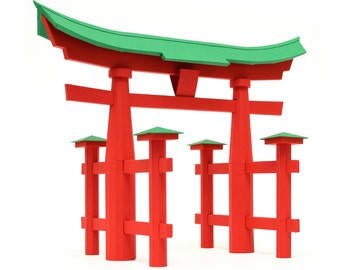 Torii Gate, Japanese traditional architecture paper model kit || height 10 inches 17 cm || red and green or white color