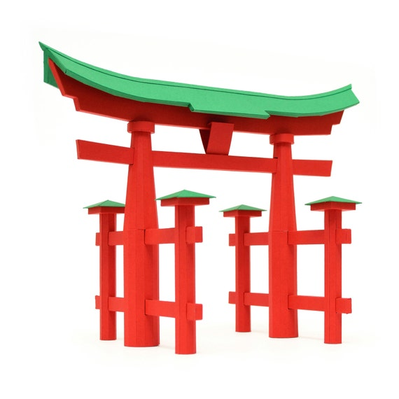 torii gate japanese traditional architecture paper craft kit. Black Bedroom Furniture Sets. Home Design Ideas