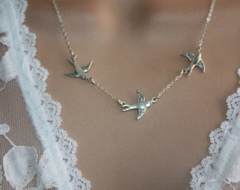 Silver Birds Necklace Three Bird Necklace - Sparrow Necklace Bird jewelry