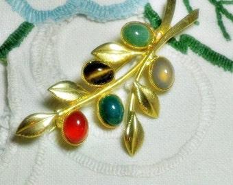 Vintage Glass Faux Gemstone Leaf Brooch Pin  (B-2-4)
