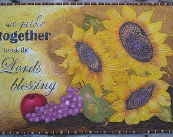 "Thanksgiving Sunflower Wall Hanging Hand Painted Art Quilt ""We Gather Together to Ask the Lord's Blessing"""