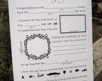 Instant Download Wedding Mad Libs, Graphic - Printable Keepsake Cards - Unique Guestbook Alternative, DIY Printable Madlibs, Guestlibs