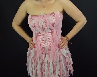 Pink Dress, Neon White Corset Fairy Dress, Upcycled, Recycled, Ruffle, UV, Paris Designer Emphasis 10/12/14 Party, Size M, Medium, OOAK
