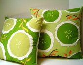 Summer Citrus Green Pillow Pair - Hand Painted Pillows - Summer Lime Ade Pea Green Instant Home Decor Duo
