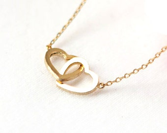 Interlocked hearts necklace, two small golden or silver heart necklace, tiny hearts pendant, 18""