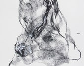"""Original Figure Drawing, Drawing 270 - 9 x 12"""" charcoal and pastel on paper - original drawing by Derek Overfield"""