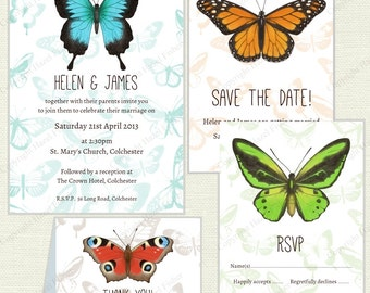 Butterfly Wedding Stationery set - printable customised digital invitation, save the date, rsvp and thank you cards, choice of 5 butterflies