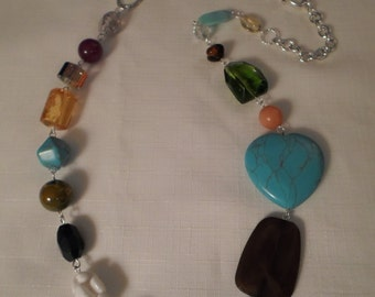 LUCITE & GLASS NECKLACE / Art Glass / Crystal / Trade Bead / Stone / Millefiori / Designer-Inspired / One-of-a-Kind / Mod / Boho / Accessory