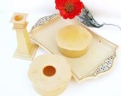 Antique Perfume Tray / Celluloid Candle Holder / Vanity Powder Boxes - Dresser Set Movie Props
