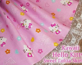 Kawaii Hello Kitty Strawberry Milkshake Pink Sweet Lolita Skirt - ANY SIZE